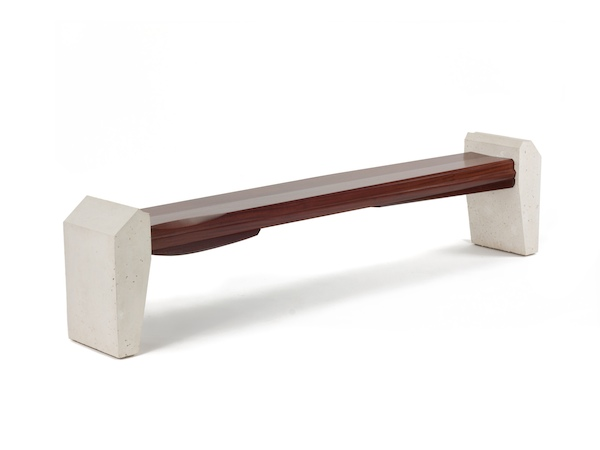 oxidized sapele and white cast concrete modern bench