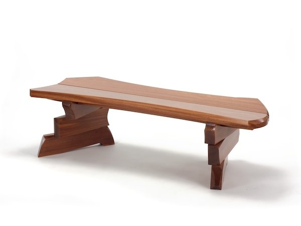 funky wood bench in solid wood