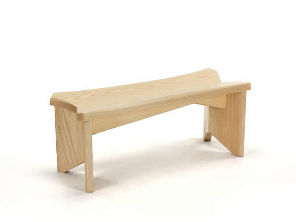 Smallest Bench- Small Modern Bench featuring dynamic asymmetrical composition in ash wood