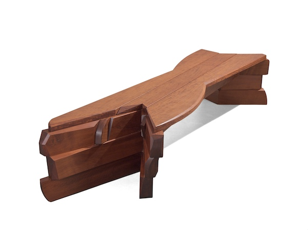 ipe bench with massive staggered legs
