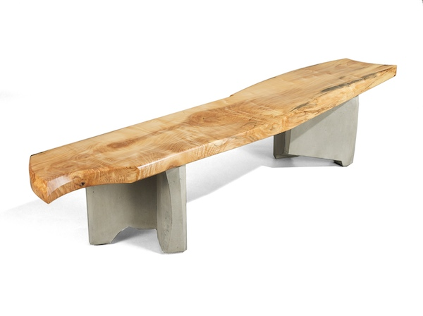 cast concrete and spalted maple top bench