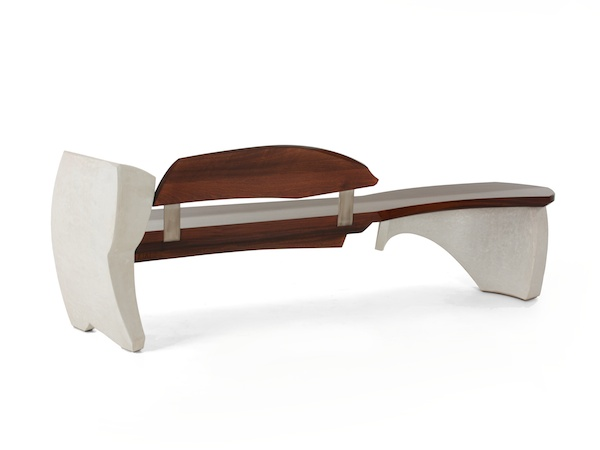 Bench #15 series #1- walnut and curved concrete