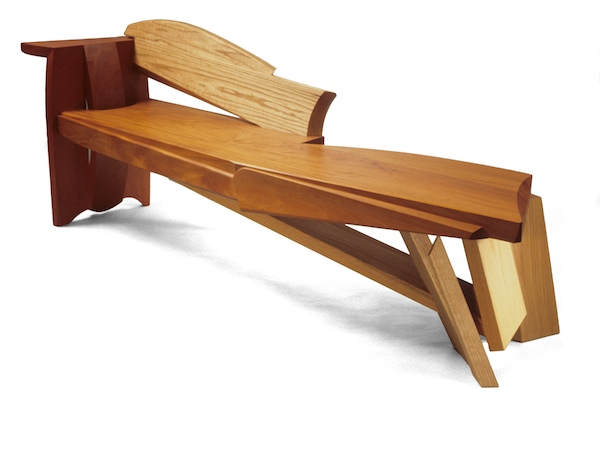 partial back and arm rest in creative bench made of mahogany and red oak