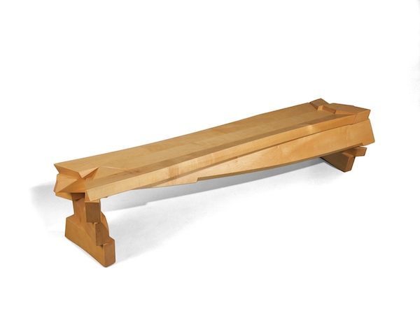 mocern bench in maple with pao ferro accent