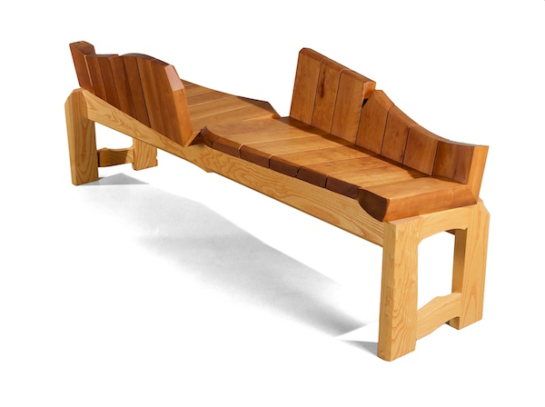 conversation bench in cherry and colored ash