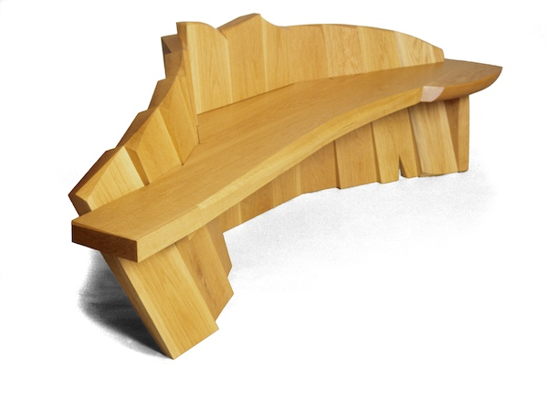 wave of white oak poetically fanning to support the bench