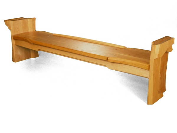 10 foot bench handmade in maple and oak