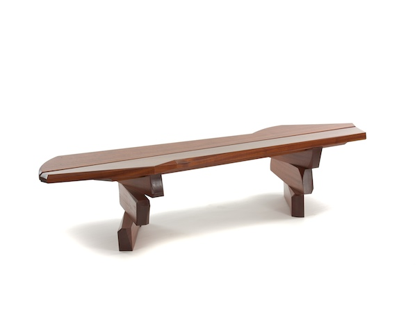 shifting staggered solid wood bench