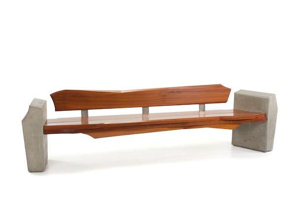 Outdoor Bench #4- modern bench made of Sapele wood and concrete