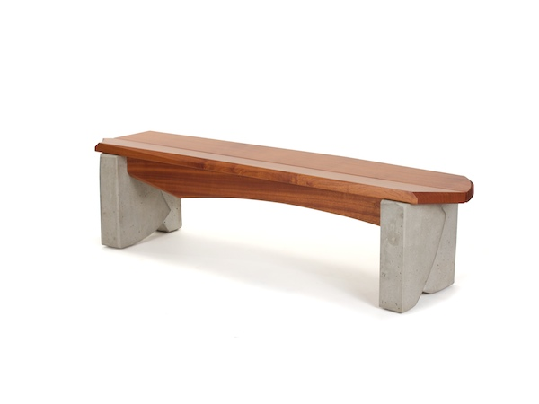 Outdoor Bench #6- modern dining bench with cast concrete legs and angled sapele seat