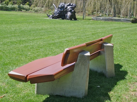 bench 2 at longhouse reserve with de kooning sculpture in background