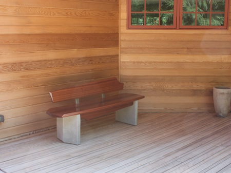 closeup of bench 5 on a covered deck