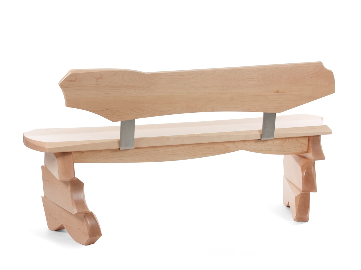Aether bench - narrow modern bench with back