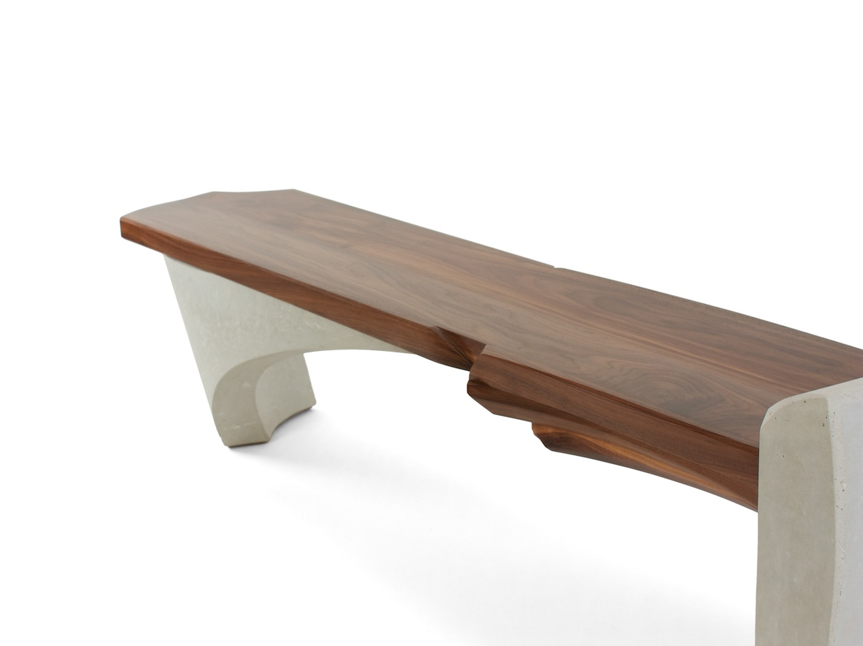 Nico Yektai Bench 14 Series 1 Walnut With Curved Concrete