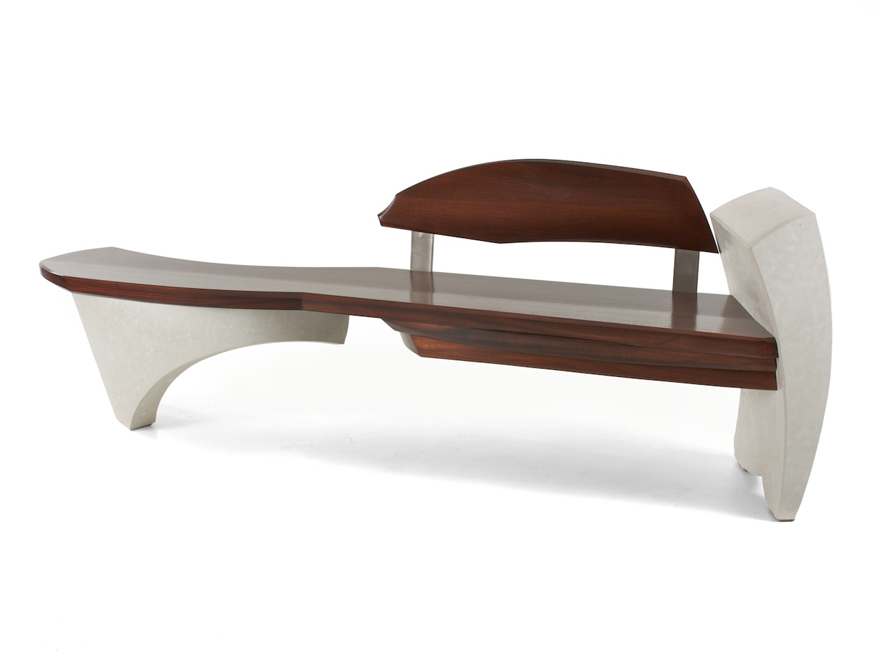 Bench #15 series #1- walnut and curved white concrete