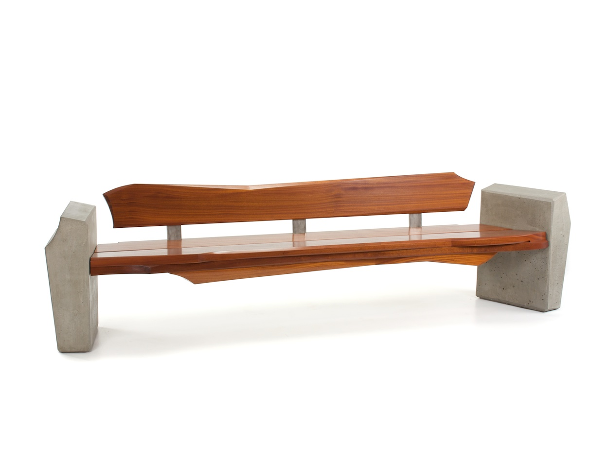 Nico yektai outdoor bench 4 modern bench made of sapele wood concrete and stainless steel Yard bench