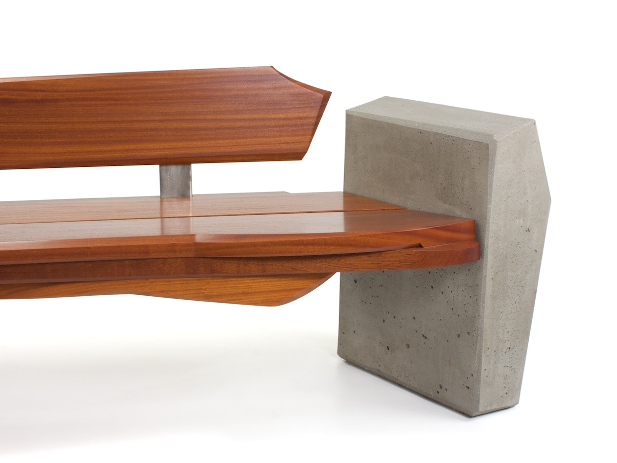 Nico Yektai: Outdoor Bench #4- Modern Bench Made Of Sapele Wood, Concrete and Stainless Steel