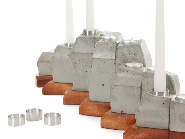 detail of concrete and wood candle holder