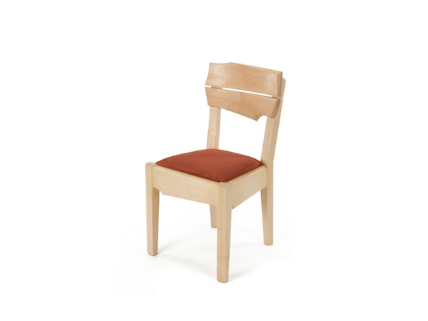 handmade maple chair with curved back