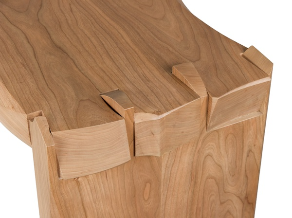 Leaning Dovetail sculpture made of cherry, one-of-a-kind