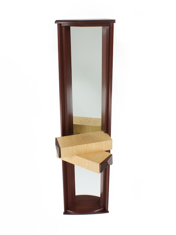 Mirror With Two Drawers- Contemporary Mirror in dark sapele, avodire wood and mirror