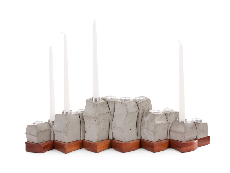 Modern Candle holder in concrete and wood