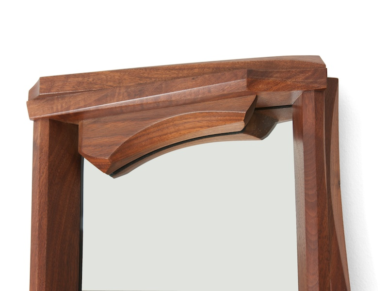 detail of walnut and mirror