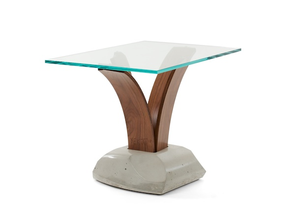 curved wood and concrete pedestal table
