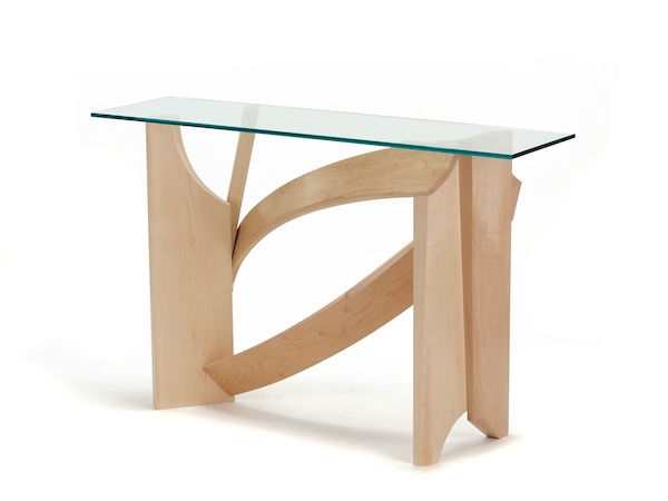 Glass Hall Table- Modern Console Table made with maple wood and glass