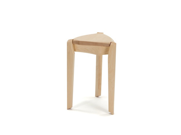 Pedestal Table #8- Contemporary End Table made in maple with solid top and bent stretchers connecting the three legs