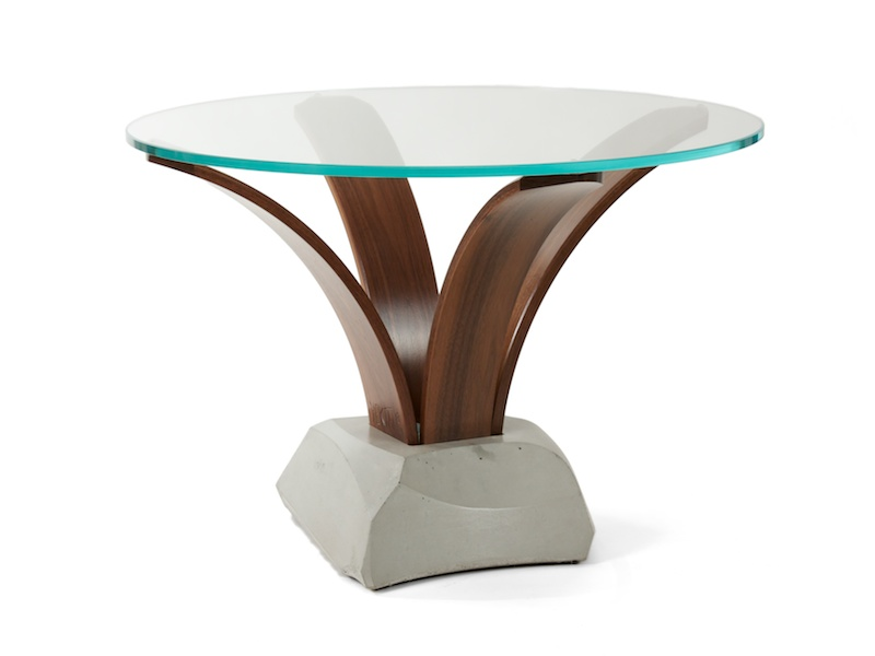 Cito accent table with glass top and concrete pedestal