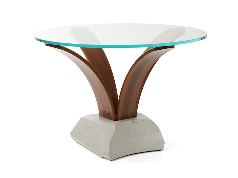 modern pedestal table with glass top