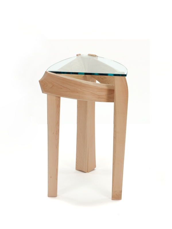 Curved Glass Top And Bent Maple Strethers In An End Table. Pedestal ...
