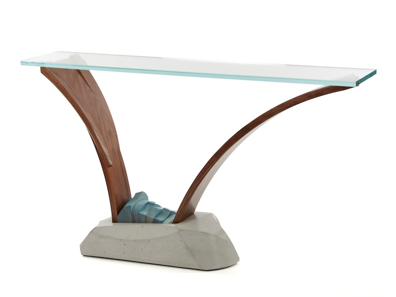 Modern pedestal console table in wood concrete and glass