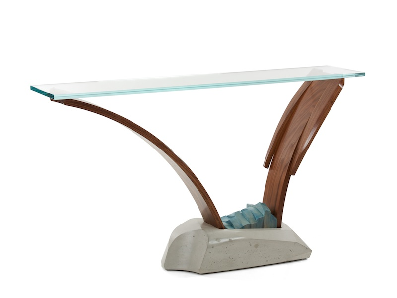 glass toped pedestal console table