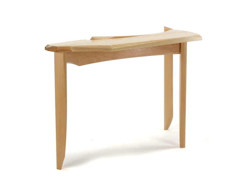 Bent Back Hall Table- Contemporary Console Table with long ash top and three ash legs connected by steam bent maple stretchers