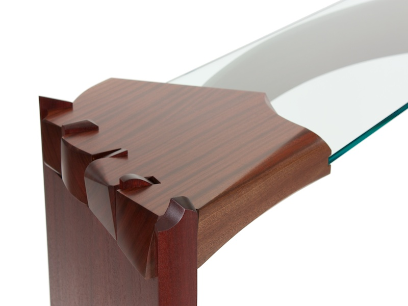Curved Dovetail Console Table- detail