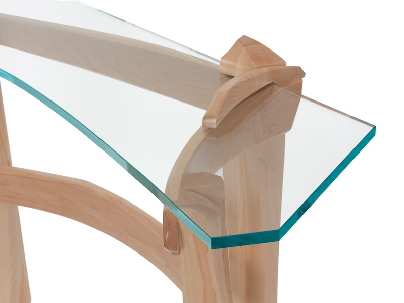 Curved Glass Hall Table for any room presented in maple and shapped glass