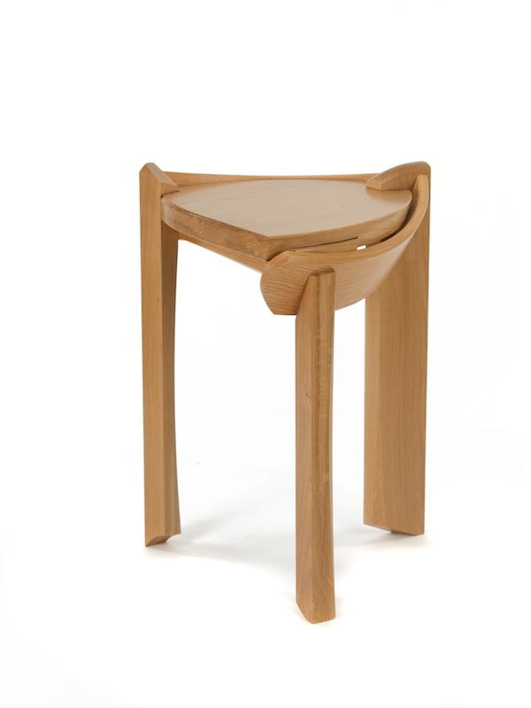 Pedestal Table #5- Designer End Table featuring sweeping curves that evoke the feeling of cradeling the top in a loving embrace